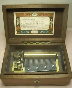 """1940~REUGE or THORENS~SWISS 36 NOTE 6 AIRS 3"""" CYLINDER WALNUT WIND UP MUSIC BOX~"""