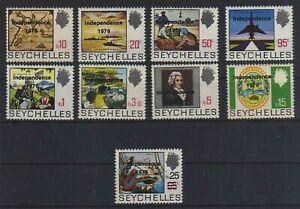 SEYCHELLES 1976 DEFINITIVA SOVRASTAMPATA 9 VALORI SCOTT 361/369 - S.G. 374/382 -
