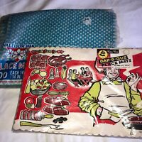 VTG MCM 50'S BETTY RITE BBQ ATOMIC COOK OUT&GINGHAM PAPER PLACEMATS DISPOSABLE