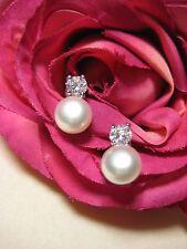 Earring 925 Silver Ear Stud Freshwater Pearls 3 Stamp Zirconia Beads Jewelry
