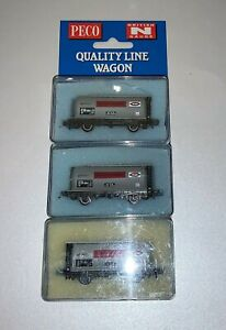 """3 x Peco (NR-P74) N Gauge PCA Cement Wagons """"Rugby Cement"""""""