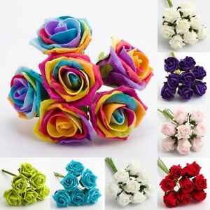 FOAM ROSES 5CM Colourfast Bunch of 6 Artificial Wedding Flowers Wire Stems