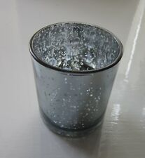 2 x Crackle Glass Tea Light Holders Silver | Wedding Table Decor | 8cm high