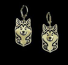 Alaskan Malamute Dog Earrings-Fashion Jewellery Gold Plated, Leverback