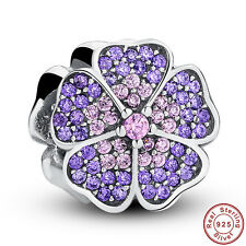 925 Sterling Silver Solid Charm PAVE APPLE BLOSSOM PURPLE Bead fit Bracelet