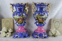 PAIR large VIEUX PARIS romantic decor hand paint floral Vases Satyr heads