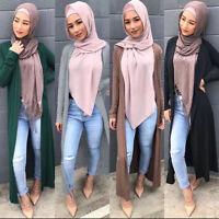 Dubai Muslim Women Cardigan Knitted Islam Robe Long Maxi Open Abaya Jilbab Dress