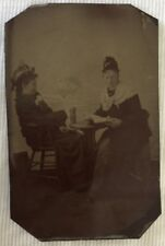 Antique Victorian Tintype Photo 2 Women Sitting At A Table Reading Book