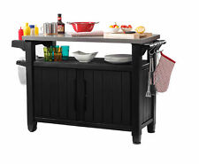 Outdoor Serving Station Patio All-Weather Prep Table Plastic Metal Grill Storage