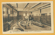 SS Ile de France Interiors Postcard - Gym - CGT - French Line