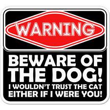 "Warning Beware Of The Dog car bumper sticker decal 4"" x 4"""