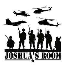 Personalized Army Marines Navy Vinyl Wall Decal Boys Bedroom Military 13""