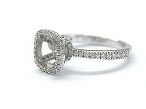 Simon G 18Kt Diamond White Gold Semi Mount Engagement Ring .32Ct