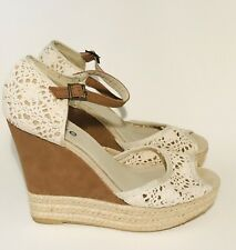 Espadrilles Shoes Size 5. Lace and brown suede.