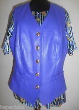 ESCADA Vintage Blouse Silk Leather Vest Set Purple Gold Trophy Silver Blue Black