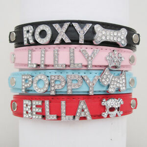 Personalised Dog Cat Pet NAME Collar PU Leather Rhinestone Diamante