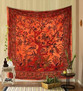 Tapestry Hippie Wall Hanging Throw Blanket Twin Bedspread Ethnic Tree Of Life UK