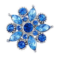 5 Bouton Pression Strass Bleu Fleur Pour Bracelet Personnalisé 26x25mm