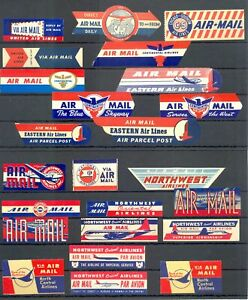 USA - AVIATION -AIR MAIL --24 x VINTAGE LABEL--VF -@ 12