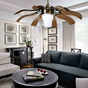 42 Chandelier Ceiling Fan Light Modern Invisible Blade LED With Remote Control