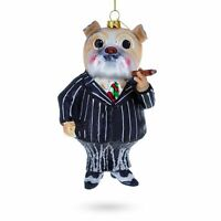 Bulldog in Suit with Cigar Glass Christmas Ornament