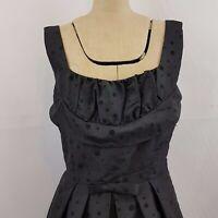 Revival Dress Sz 10 Black Self Polka Dot Taffeta Lined 50s Look Rockabilly LBD