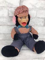 Vintage Red Plaid Mr. Bim Zippy Rubber Faced Plush Monkey Gund Train Conductor