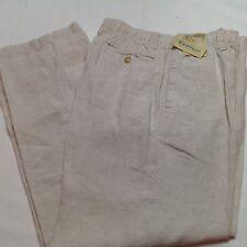 CARIBBEAN Men Linen Drawstring Pants Natural 40x32 NEW $79.50