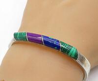 MEXICO 925 Silver - Vintage Malachite & Multi-Stone Bangle Bracelet - B6996
