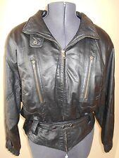 WILSONS Vintage 80s LEATHER Motorcycle CROPPED Biker JACKET Womens LG Black