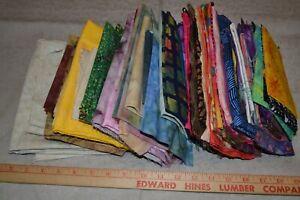 Lot of cotton batik fabric, mixed colors/designs, 4 pounds 10 ounces total
