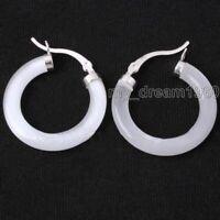 """14k White Gold Filled   Natural White Jade - - 1"""" -  Hoop Earrings - Gift Boxed"""