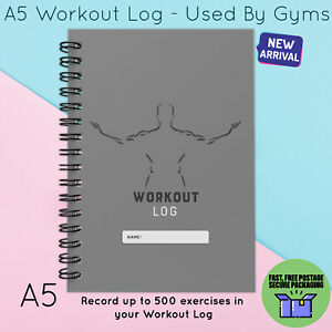 A5 WORKOUT LOG DIET & WEIGHT LOSS RECORD DIARY GYM HOME USE  EXERCISE GREY MAN