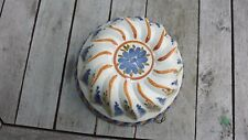 VINTAGE CERAMIC DECORATIVE JELLY MOULD HAND PAINTED FLORAL MOTIF - ITALY