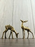 Vintage MCM Spotted Brass Deer Reindeer Figurines Set of 2