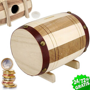 Piggy Bank Barrel Wood Craft round Bank/Money Box Saving Euro Coins Banknotes