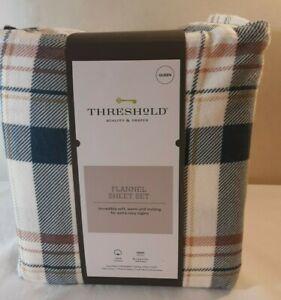 Threshold Plaid Flannel Sheet Set Queen 100% Cotton