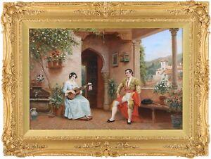 Spanish Lovers Antique Oil Painting by Arthur Trevor Haddon R.B.A. (1864–1941)