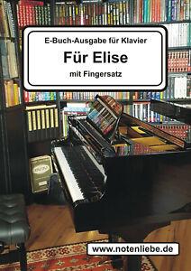 Für Elise Klaviernoten mit Fingersatz Anfänger Fortgeschrittene Beethoven E-Buch