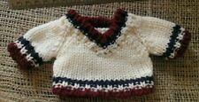 "New Pullover V Neck Sweater for 10"" - 12"" Bear or Doll Cream White Red & Blue"
