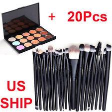 Pro 15 Colors Party Contour Face Cream Concealer Palette + 20 Eye Makeup Brushes