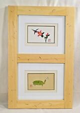 Framed asian art prints turtle bird flower butterfly artists seal signature cute