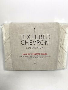 "Anthropologie Textured Chevron Collection Pair of Shams Beige/Ivory  20""x26"" NWT"