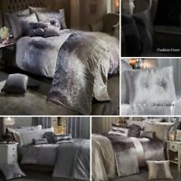 Luxury Crushed Velvet Duvet Cover Set Quilt Bedding Silver Grey Diamante Bling