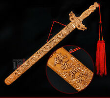 65cm China Pure Peach tree wood Hand carved Exorcise evil spirits Dragon Sword