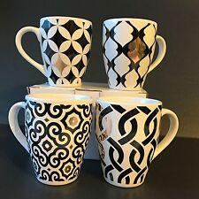 Coffee Mug Gift Set Tea Cups Black And White Designs Metallic