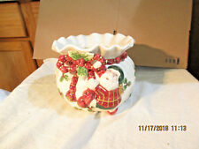 Fitz and Floyd ChristmasCandy Dish.Planter-Santa Tying Bow