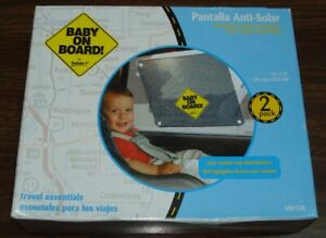 """Travel Essentials Baby On Board Deluxe Sunscreen 13"""" x 17"""" (2 Pack) (BIN 25)"""