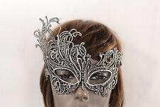 Women Head Half Face Eyes Mask Black Fabric Halloween Costume Silver Filigree