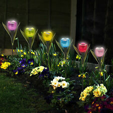 6 Garden Tulip Flower Shape LED Solar Powered Lights Outdoor Yard Standing Decor